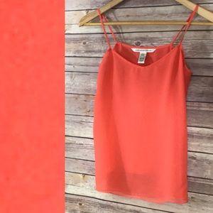 Diane Von Furstenberg Tangerine Silk Tank Top